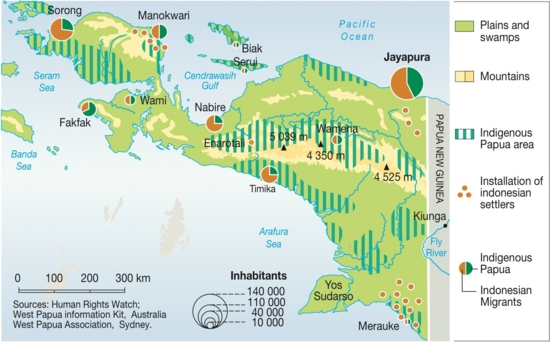Colonization of West Papua Indonesia (map/graphic/illustration)