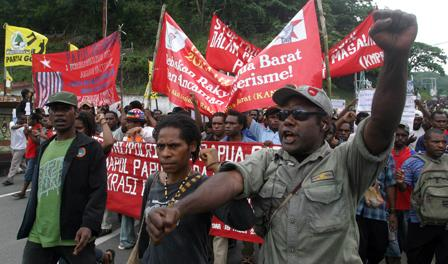 Pro independence protests, Jayapura, West Papua Indonesia 24 Mar 09